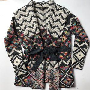 Radzoli southwestern pattern sweater wrap- L